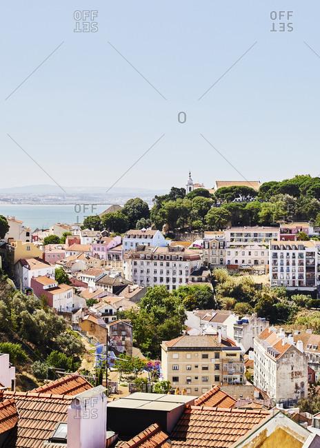 Lisbon, Portugal - July 20, 2019: Bird's eye view of neighborhood beside the Tagus River