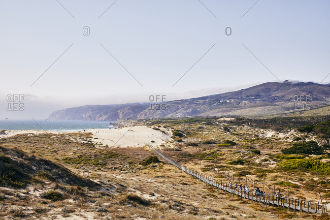 Portugal - July 22, 2019: Sandy beach on the coast of Portugal