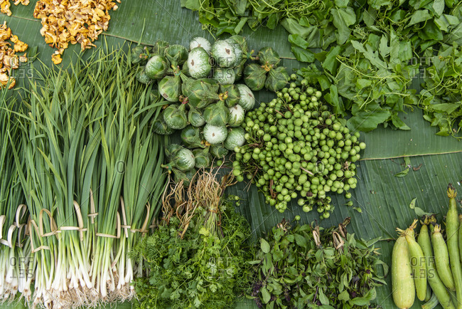 Vegetables on display at an outdoor market in Luang Prabang, Laos