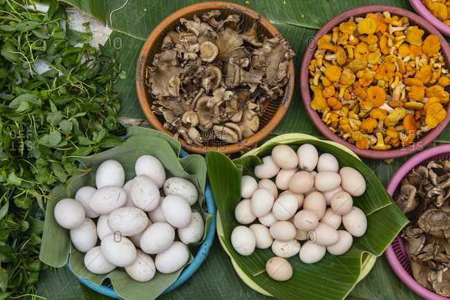 Eggs and mushroom for sale at a market in Luang Prabang, Laos