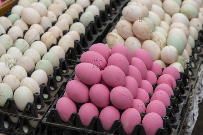 Eggs for sale at a market in Luang Prabang, Laos