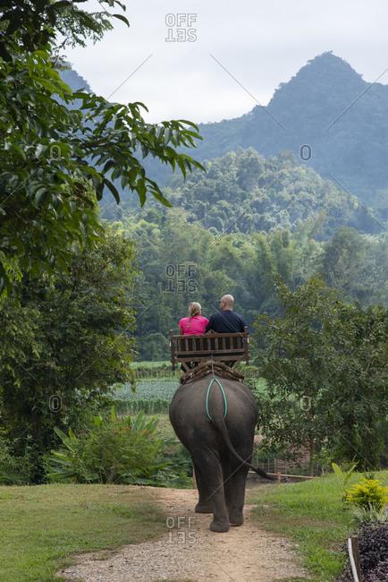 Riding Asian elephants near Luang Prabang, Laos