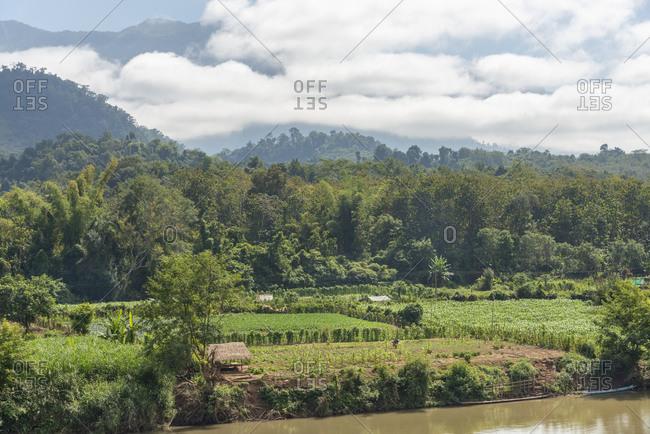 View of farmland near Luang Prabang, Laos