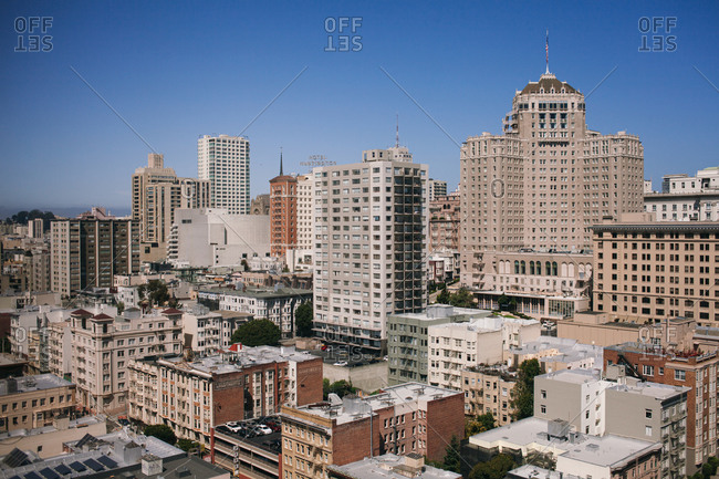 San Francisco, California - April 15, 2014: Bird's eye view over buildings in downtown San Francisco