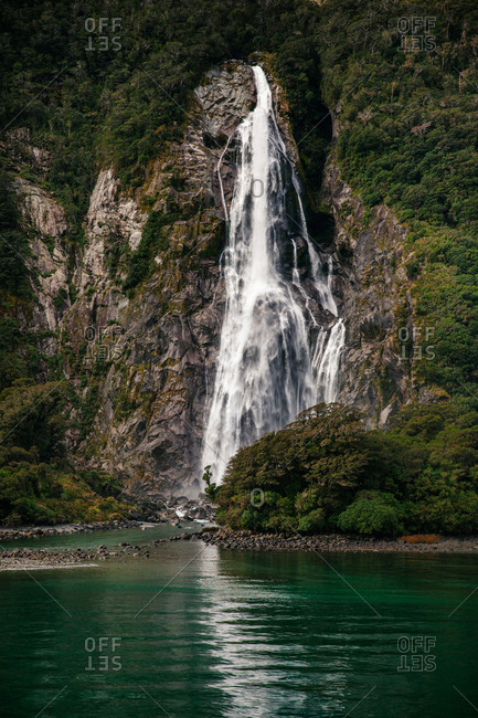 Bowen Falls in Milford Sound, New Zealand