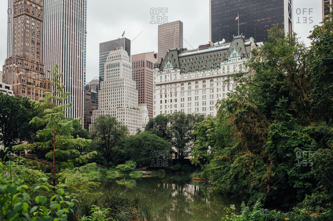 View from Central Park of buildings in New York City, New York