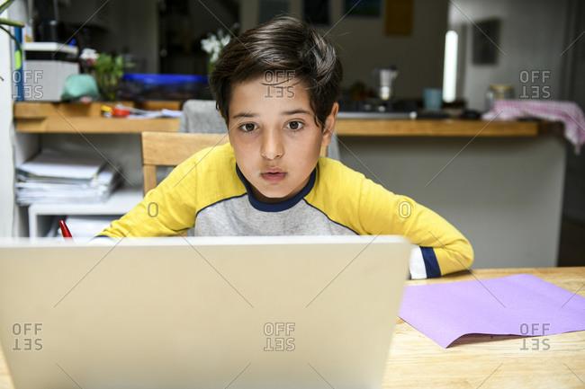 Boy doing homework during the Coronavirus lockdown