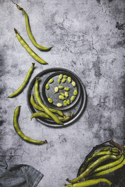 Beans served on dish on gray background