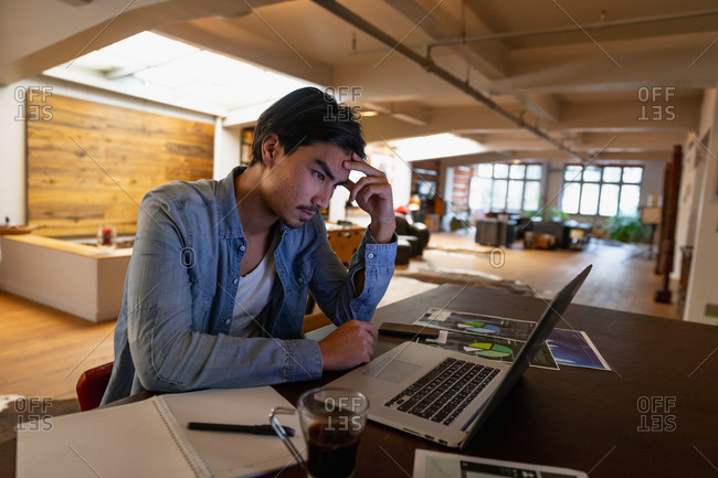 Side view of a young mixed race man, sitting in the living room, using his laptop while working.