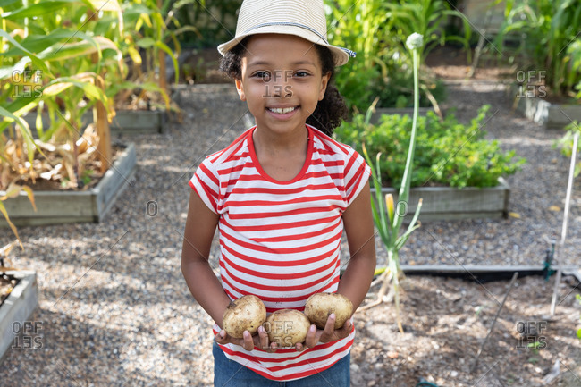 African American girl social distancing at home during quarantine lockdown, standing in a garden, smiling and presenting fresh potatoes.