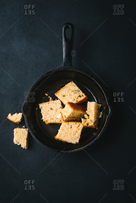 Corn bread in a cast iron baking pan
