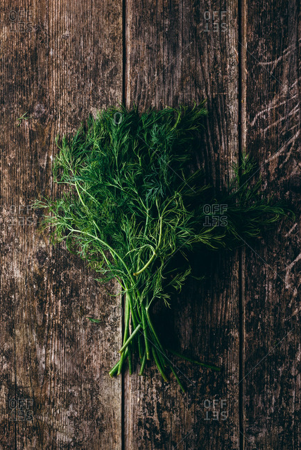 A bunch of fresh dill on wooden background