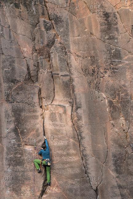 Climber in Seidelbruch at Rochlitzer Berg, Rochlitz, Saxony, Germany