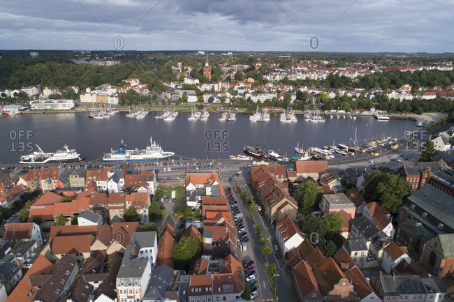 January 1, 1970: Aerial of Flensburg, Baltic Sea, Germany