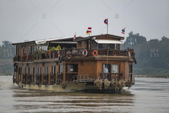 January 1, 1970: River cruise ship Mekong Sun on the Mekong in Laos