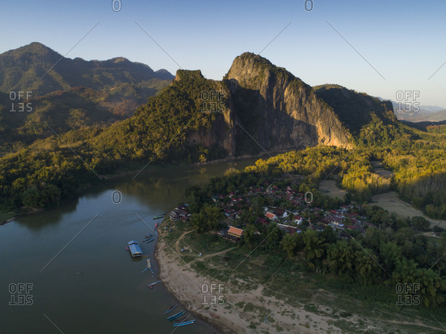 Mekong River and Mountains in Laos