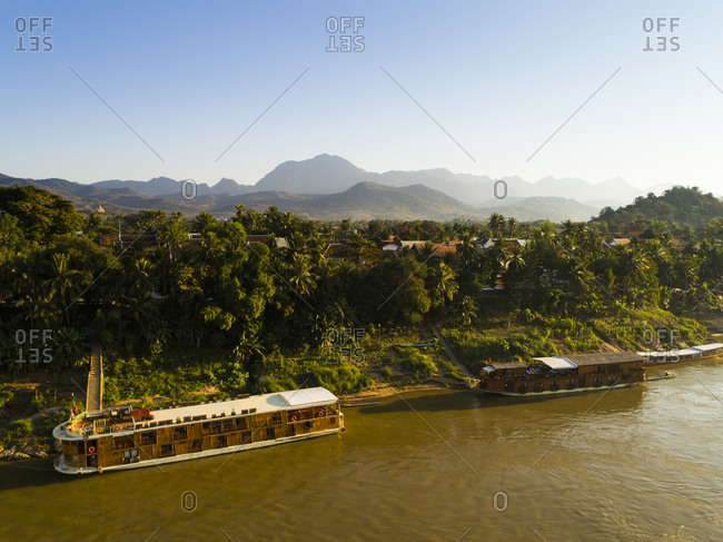 January 1, 1970: River cruise ships, Luang Prabang, Laos