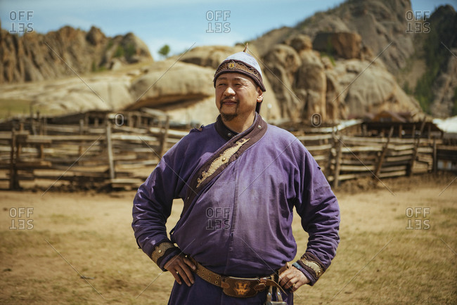 Nomad in traditional clothing, Mongolian Switzerland, Gobi Desert, Mongolia