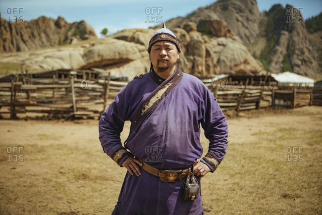 Nomad in traditional clothing, Mongolian Switzerland, Gobi Desert, Mongolia