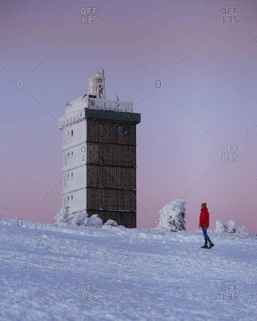 Brocken in winter with snow, Harz, Germany