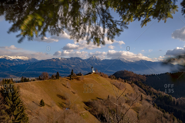 Jamnik church on a hill in Slovenia