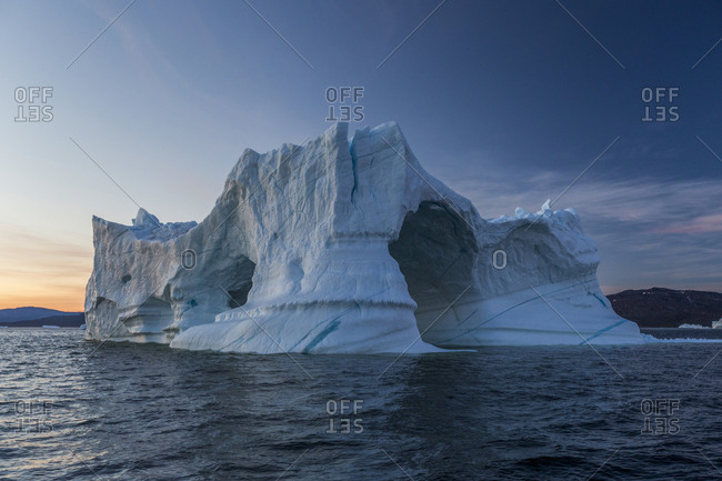Icebergs in Disko Bay on Midsummer, Greenland