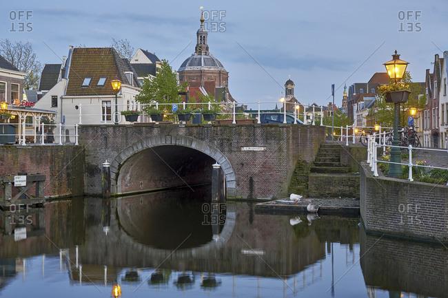May 1, 2018: Marepoortsbrug with Marekerk in Leiden, South Holland, Netherlands