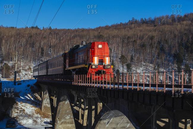 January 1, 1970: Trans-Siberian Railway at Lake Baikal, Russia