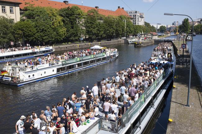 July 14, 2018: Fischerinsel ferry filled with passengers, Mitte, Berlin