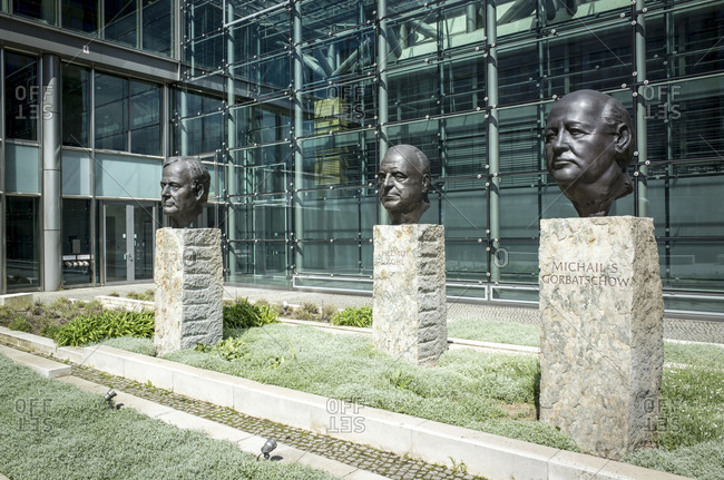 May 9, 2017: Architects of German Unity: George Bush, Helmut Kohl, Mikhail Gorbachev, Memorial, Rudi-Dutschke-Strasse, Kreuzberg, Berlin