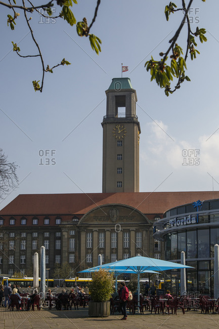 April 11, 2018: New ice cream parlor of the Spandau ice cream brand Florida, in the back city hall, Spandau, Berlin