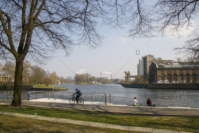 April 11, 2018: Lindenufer, Sternbergpromenade on the Havel, Spandau, Berlin