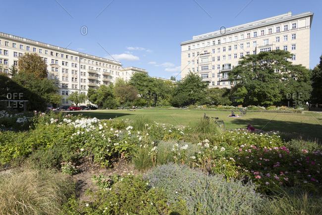 Rose garden on Karl-Marx-Allee, Friedrichshain, Berlin