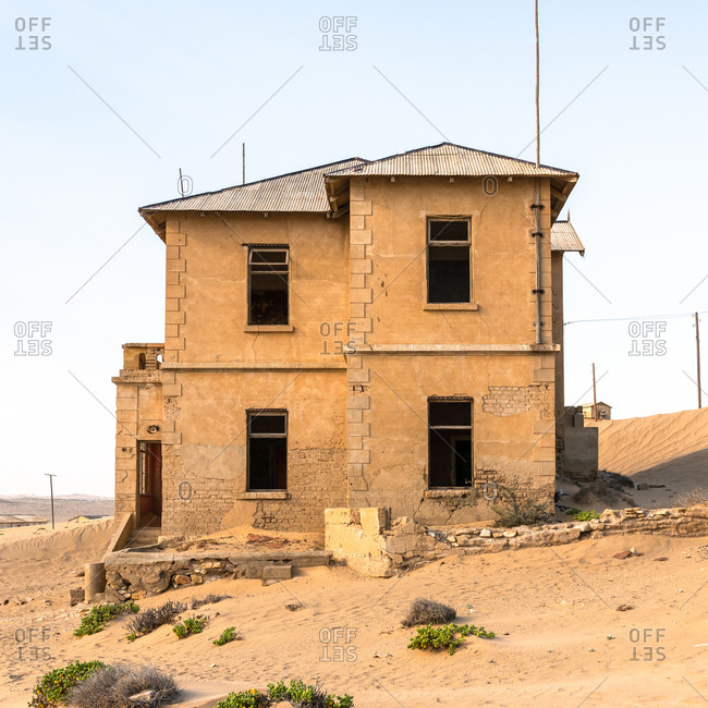 Side view of abandoned house, Kolmannskuppe, Namibia
