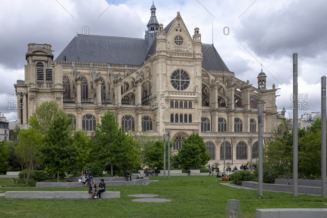April 24, 2019: Saint-Eustache, Quartier des Halles 1st arrondissement, Paris, France