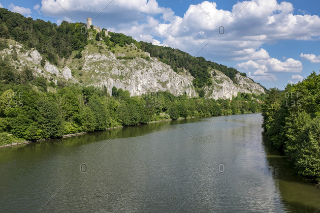 View from the wooden bridge Essing, Main-Danube-Canal, Nature Park Altmuhltal, Bavaria, Germany