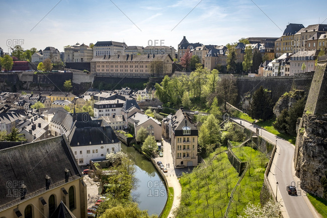 Old Town Luxembourg in the day, aerial view