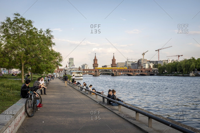 May 21, 2019: Banks of the Spree, Muhlenstrasse, East Side Gallery, Friedrichshain, Berlin, Germany