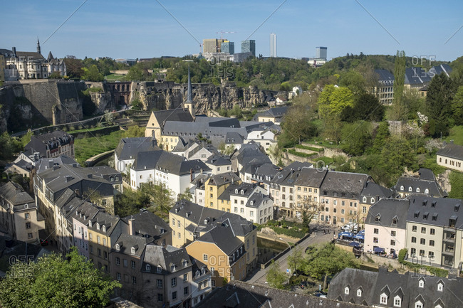 April 20, 2018: Old Town Luxembourg in the day, aerial view, France
