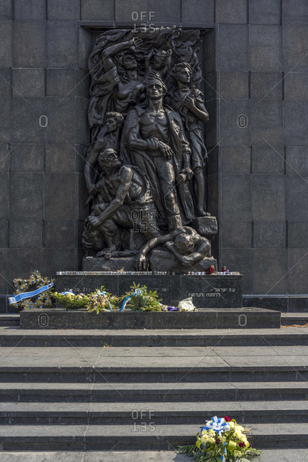 August 19, 2018: Monument to the ghetto heroes in Warsaw, Poland
