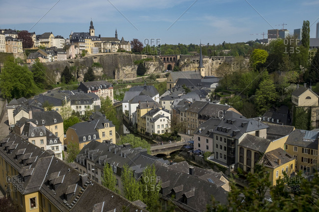 April 22, 2018: Aerial view of houses in Old Town Luxembourg, France