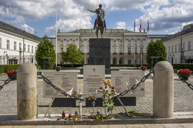 August 17, 2018: The monument to Prince Jozef Poniatowski in the courtyard of the Presidential Palace in Warsaw, Poland