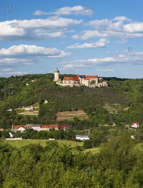 View of Neuenburg Castle above the vineyards, Freyburg (Unstrut), Saxony-Anhalt, Germany