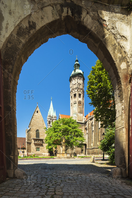 June 13, 2019: Naumburg Cathedral St. Peter and Paul, view through archway, UNESCO World Heritage, Naumburg, Saxony-Anhalt, Germany
