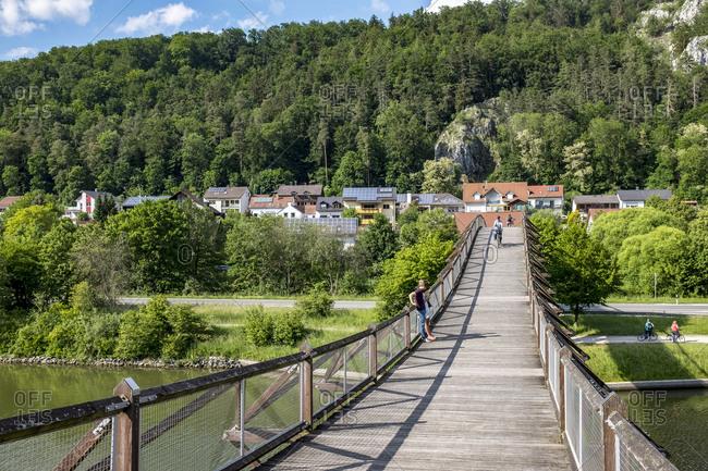 May 21, 2018: Essing wooden bridge, Main-Danube Canal, Altmuhltal Nature Park, Bavaria, Germany