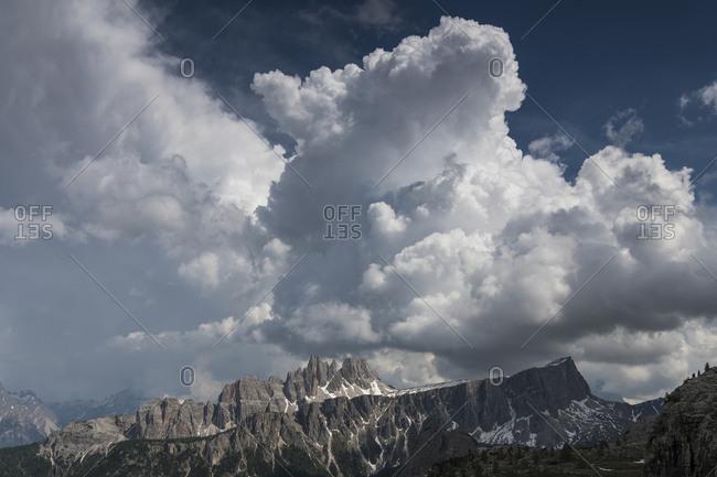 View of Croda da Lago, thunderstorm, Dolomites, Italy