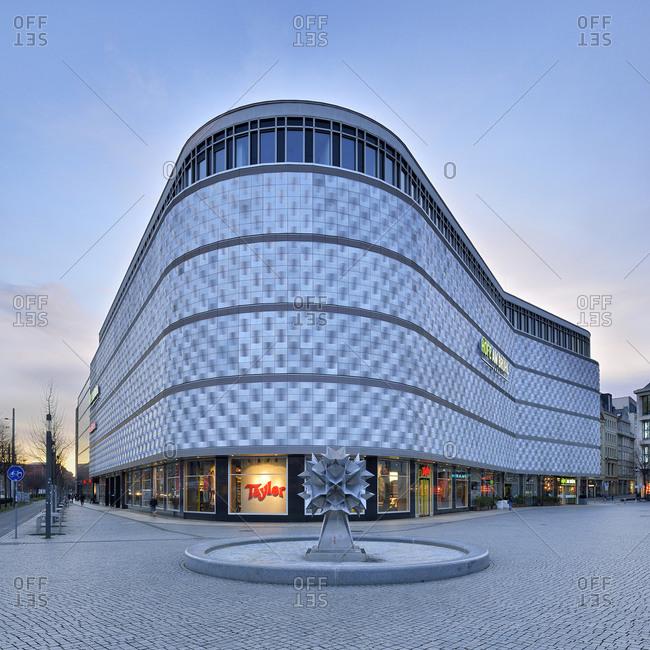 December 27, 2017: Shopping center Hofe am Bruhl, called Blechbuchse, Richard-Wagner-Platz, Leipzig, Saxony, Germany