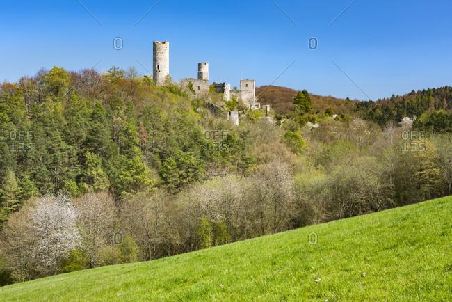 Castle ruin Brandenburg in spring, Lauchroden, Wartburgkreis, Thuringia, Germany