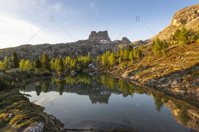 Sunrise at Lago di Limides, view of Monte Averau, Dolomites, Italy