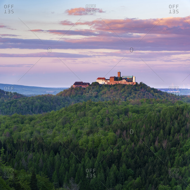 View from the Rennsteig to the Wartburg in the last evening light, Thuringian Forest, Eisenach, Thuringia, Germany